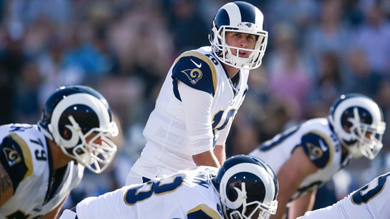 Los Angeles Rams quarterback Jared Goff in action during the first half of an NFL football game against the New Orleans Saints Sunday, Nov. 26, 2017, in Los Angeles.