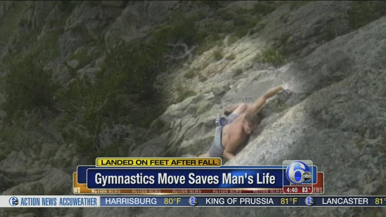 VIDEO: Gymnast saves own life after falling from cliff