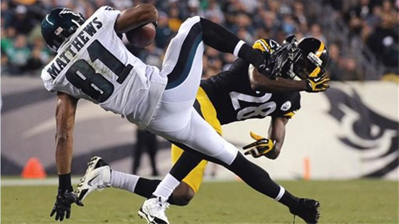 Philadelphia Eagles Jordan Matthews (81) is tackled by Pittsburgh Steelers Cortez Allen (28), Thursday, Aug. 21, 2014, in Philadelphia.
