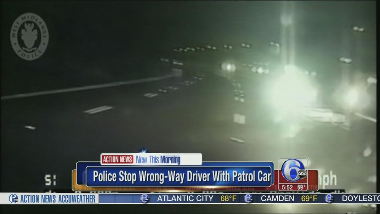 VIDEO: Wrong-way driver crashes into police car