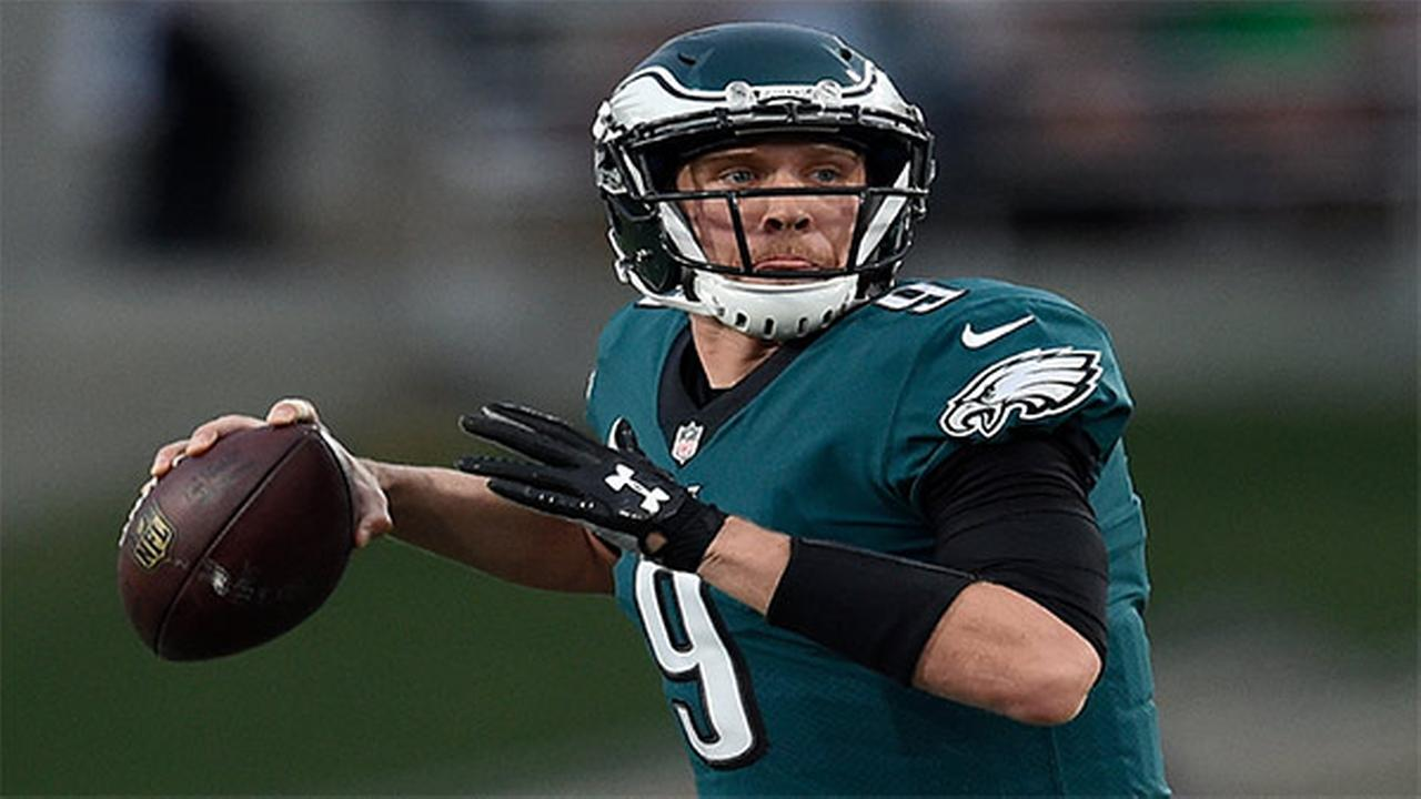 Philadelphia Eagles quarterback Nick Foles looks to pass against the Los Angeles Rams during the second half of an NFL football game Sunday, Dec. 10, 2017, in Los Angeles.