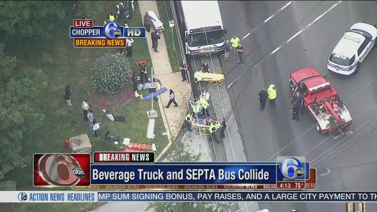 VIDEO: SEPTA bus, truck collide in Montco