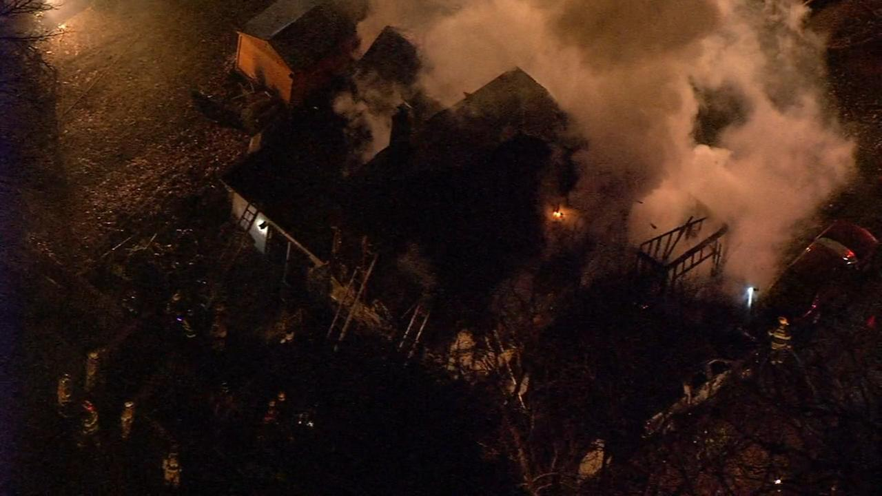 Chopper 6 over Schwenksville house fire