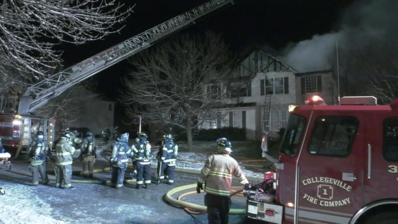 Firefighters battle Upper Providence house fire