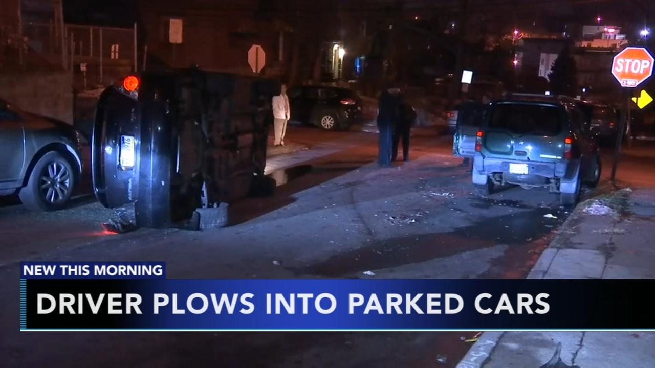Car slams into parked vehicles in Upper Darby
