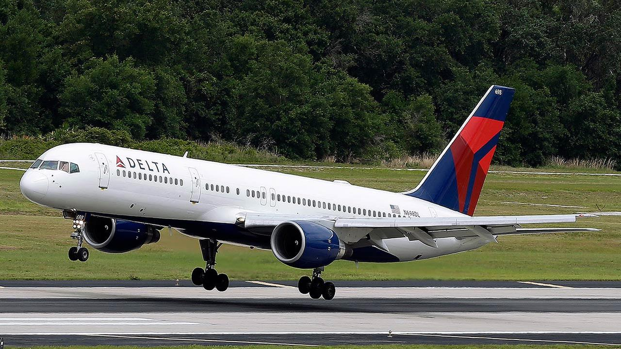 File Photo - A Delta Air Lines Boeing 757-232 lands at Tampa International Airport in Tampa , Fla