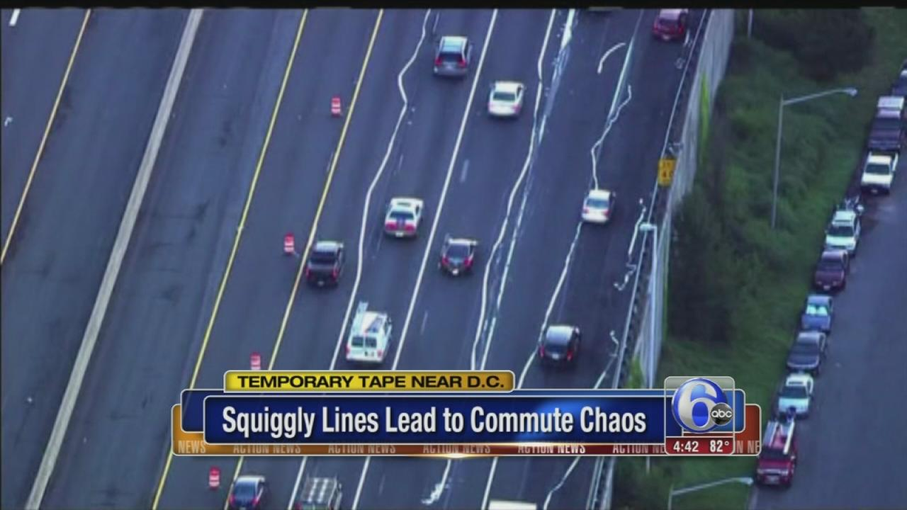 VIDEO: Squiggly lines on highway confuse commuters