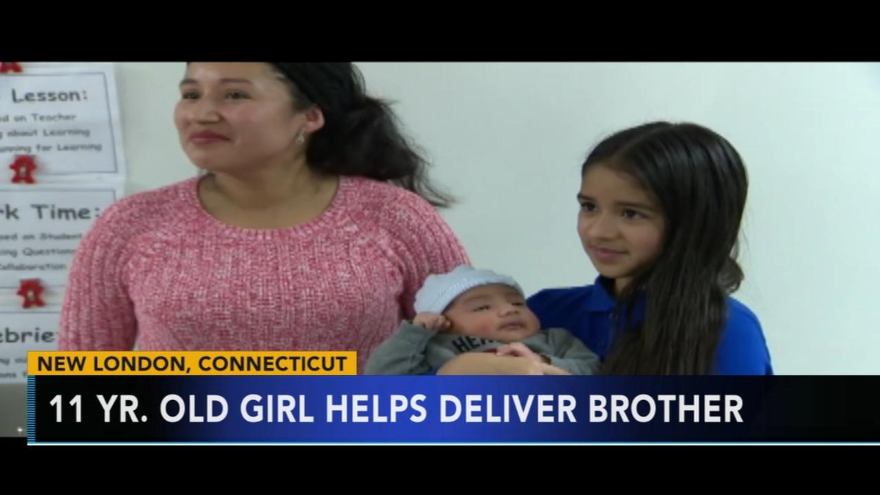 Girl helps deliver baby brother
