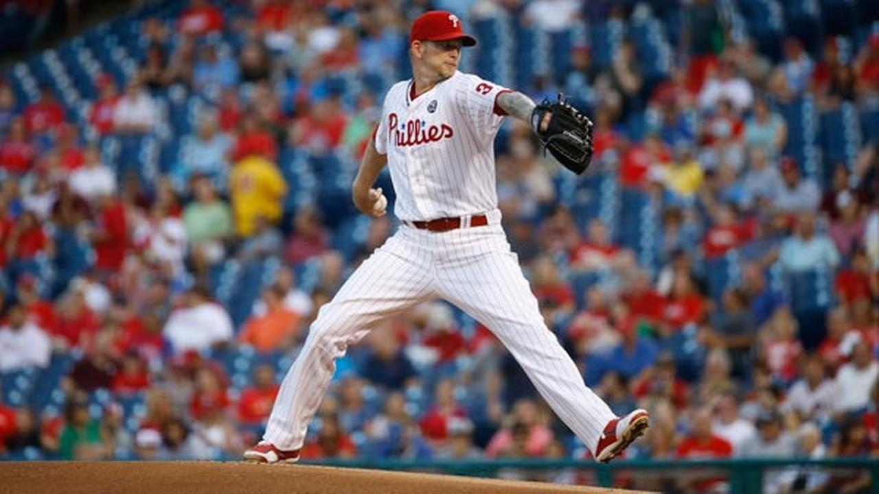 Philadelphia Phillies A.J. Burnett pitches during a baseball game against the Washington Nationals, Monday, Aug. 25, 2014, in Philadelphia. (AP Photo/Matt Slocum)