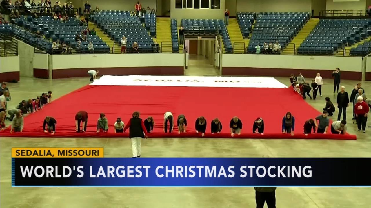Missouri town creates worlds largest Christmas stocking