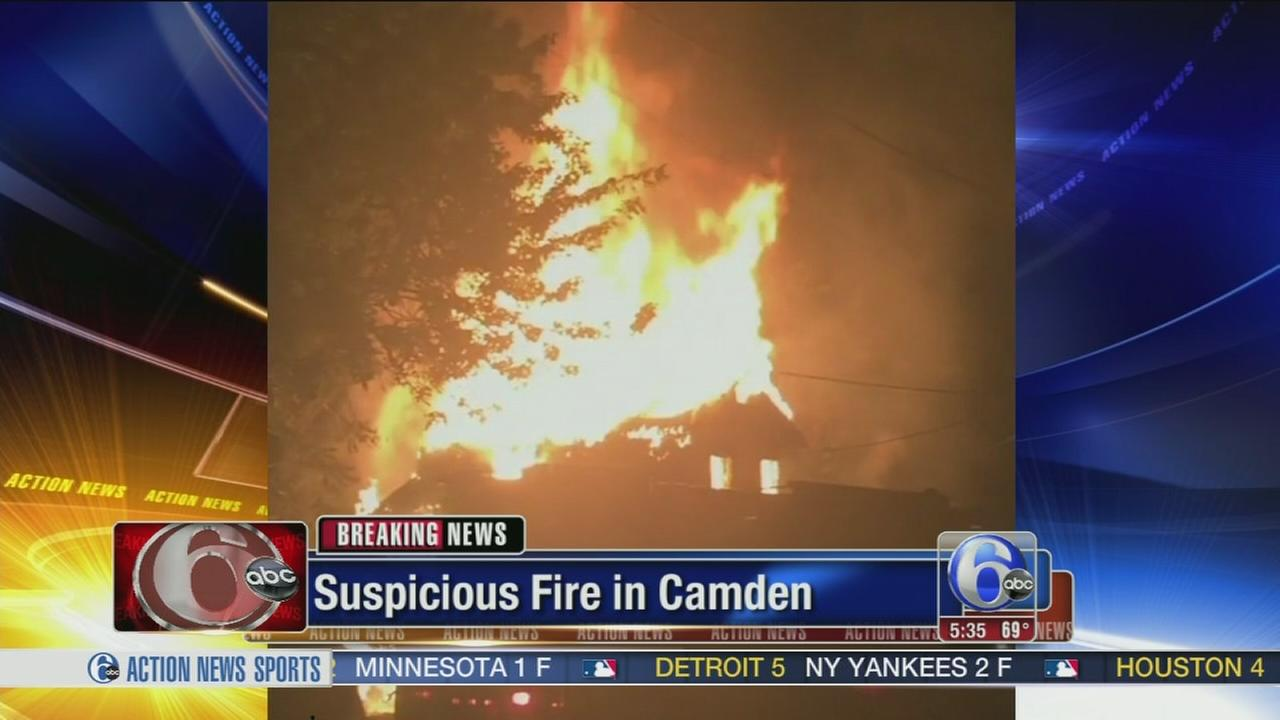 VIDEO: Huge flames destroy vacant house in Camden