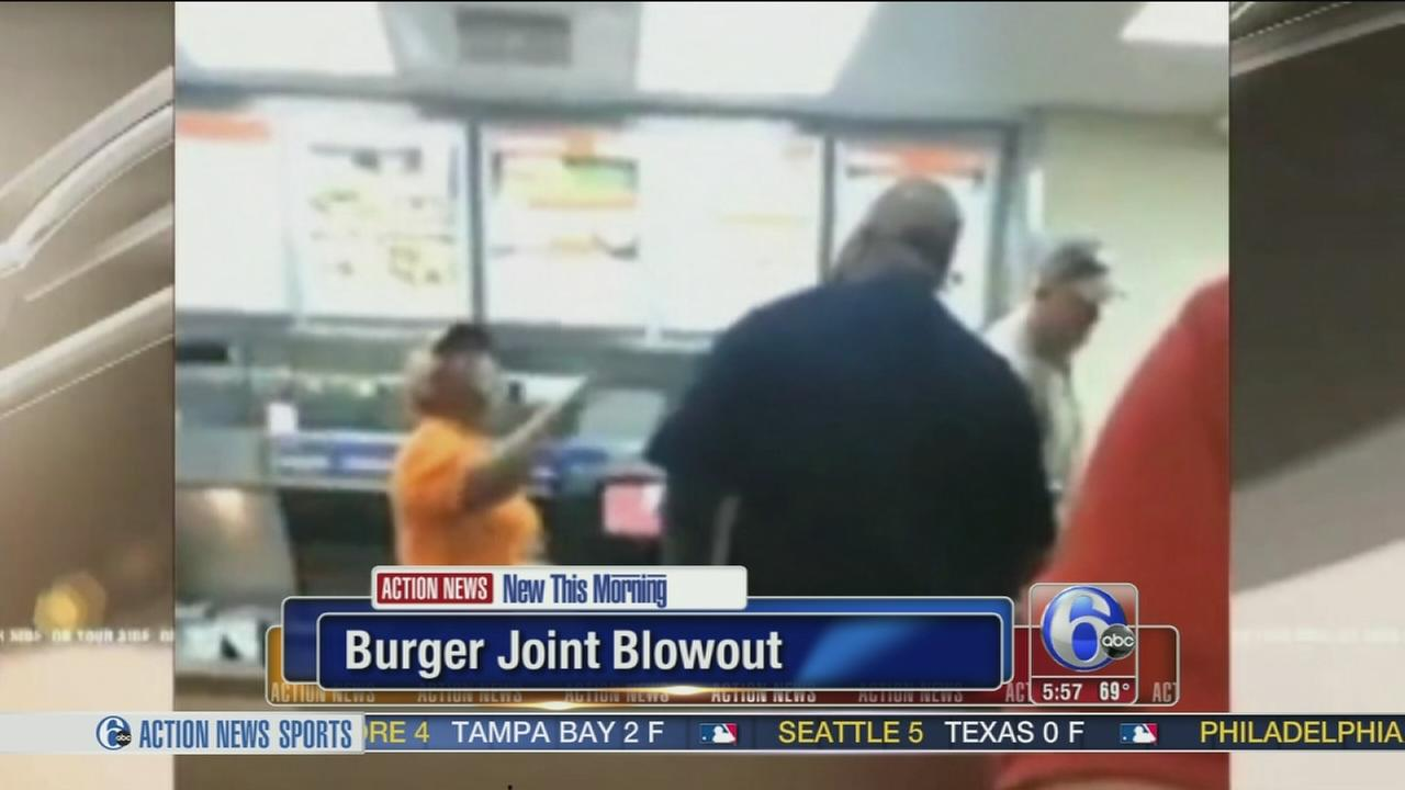 VIDEO:  Botched order leads to fight in burger joint
