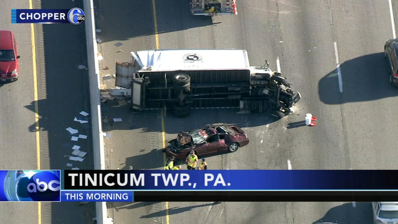 VIDEO: Truck collides with car on I-95