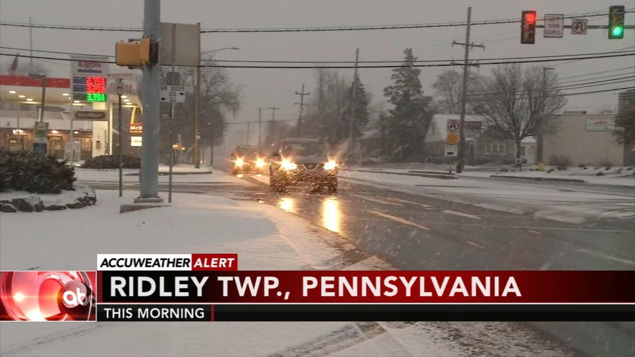 Snow begins to fall throughout the region
