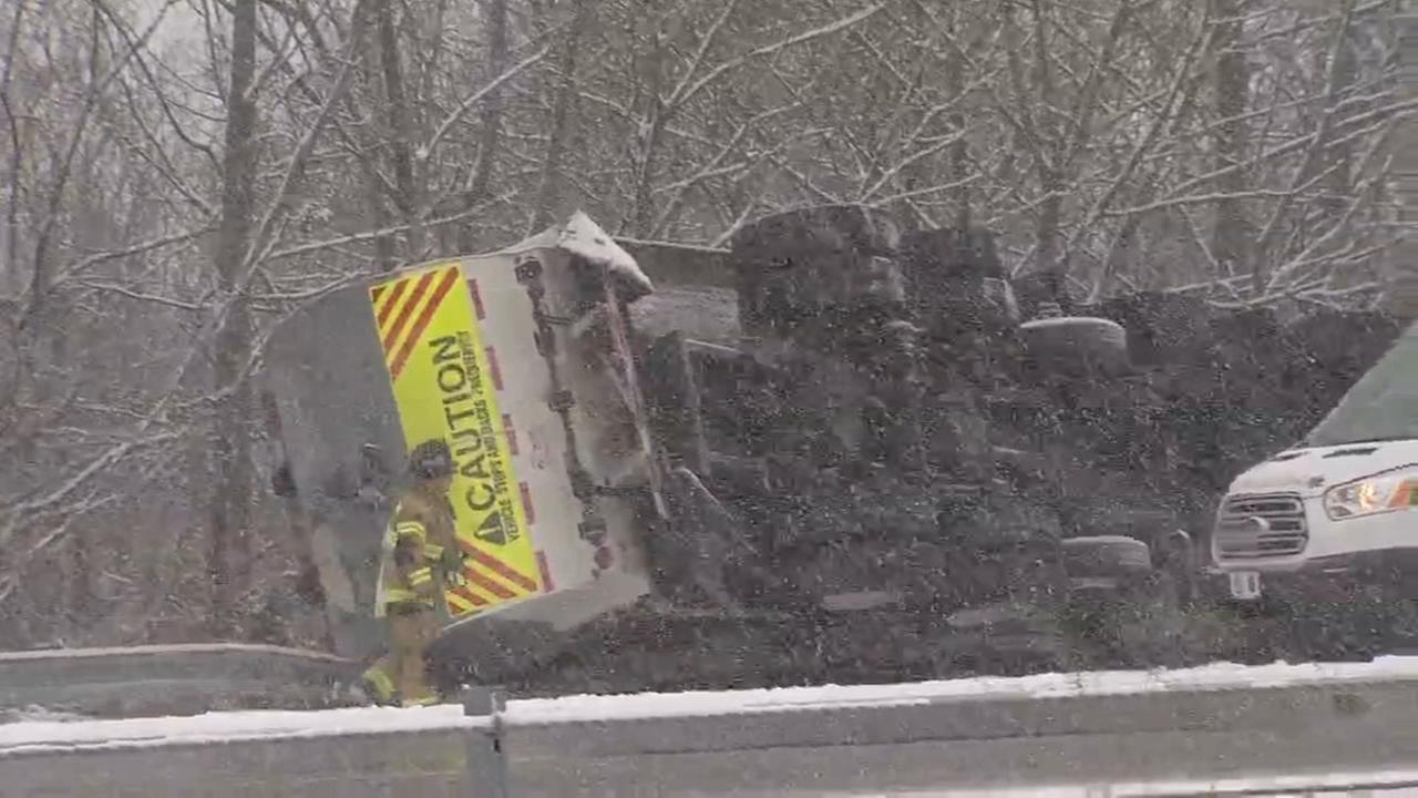 Overturned trash truck causes traffic congestion in Bucks County