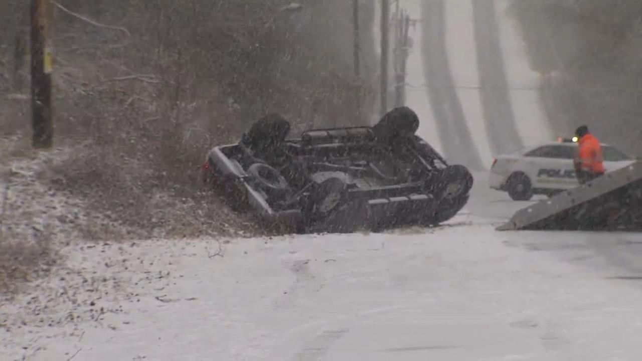 Pickup truck loses control, ends up in ditch in Solebury Township