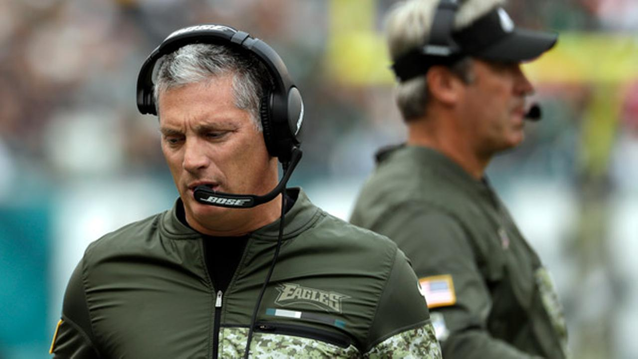 Philadelphia Eagles Jim Schwartz is seen during the first half of an NFL football game against the Denver Broncos, Sunday, Nov. 5, 2017, in Philadelphia.