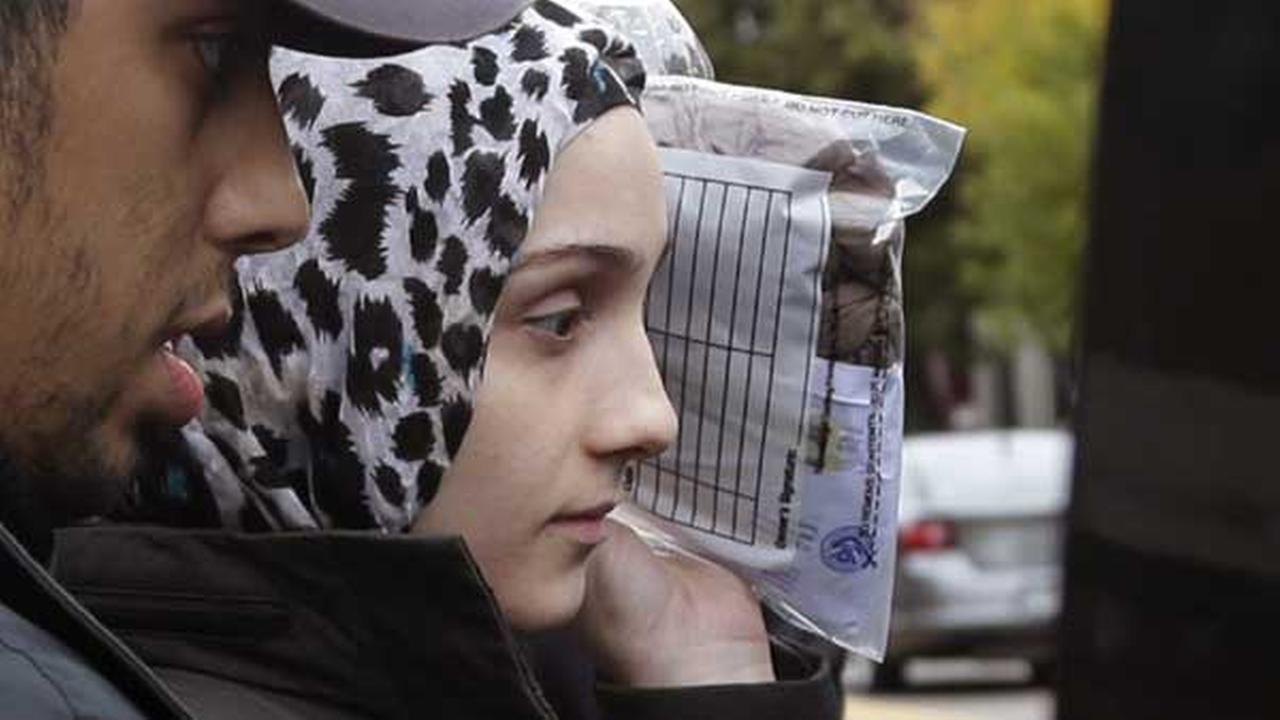 FILE- In this Oct. 13, 2014 file photo, Ailiana Tsarnaeva, sister of Boston Marathon bombing suspect Dzhokhar Tsarnaev, departs district court in Bostons South Boston neighborhood