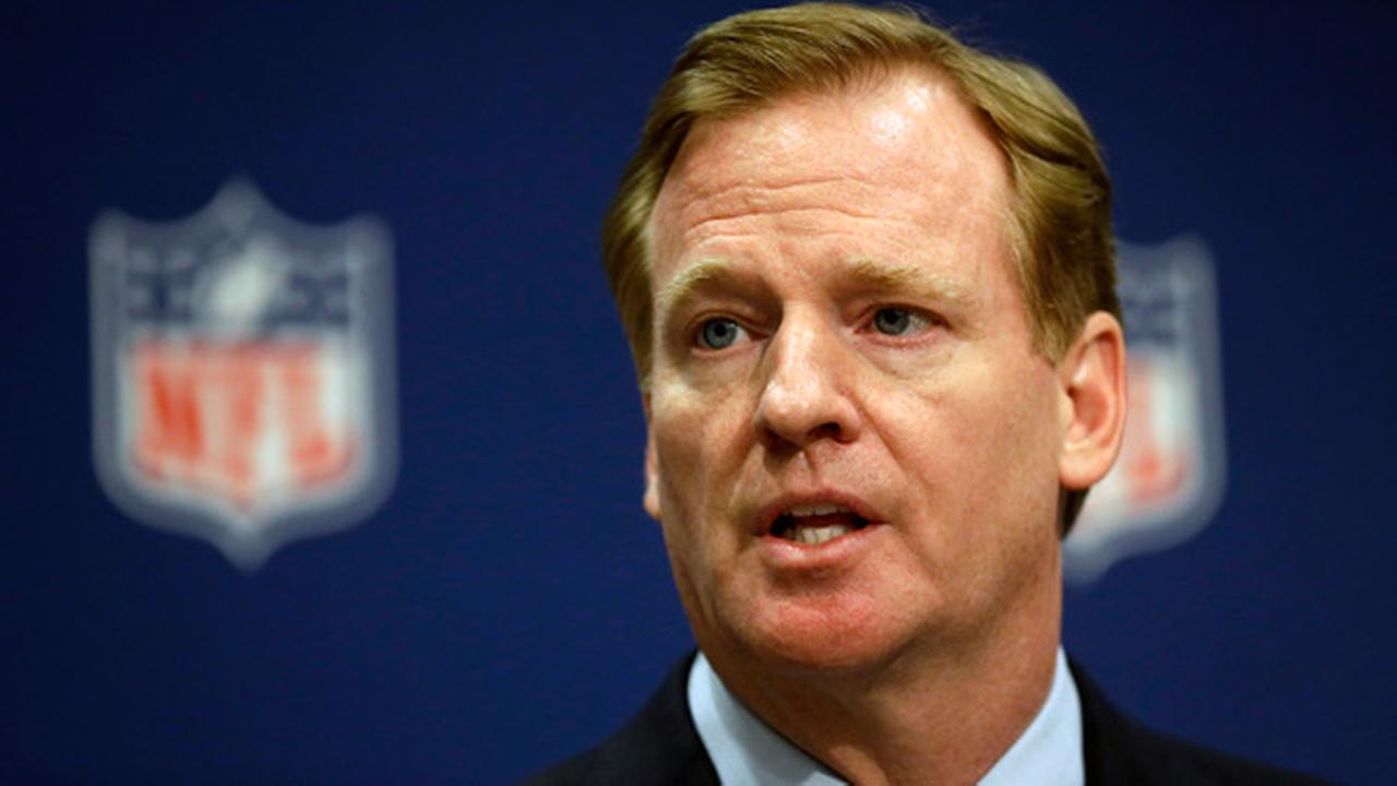 FILE - In this May 20, 2014, file photo, NFL Commissioner Roger Goodell speaks at a press conference at the NFLs spring meeting in Atlanta.