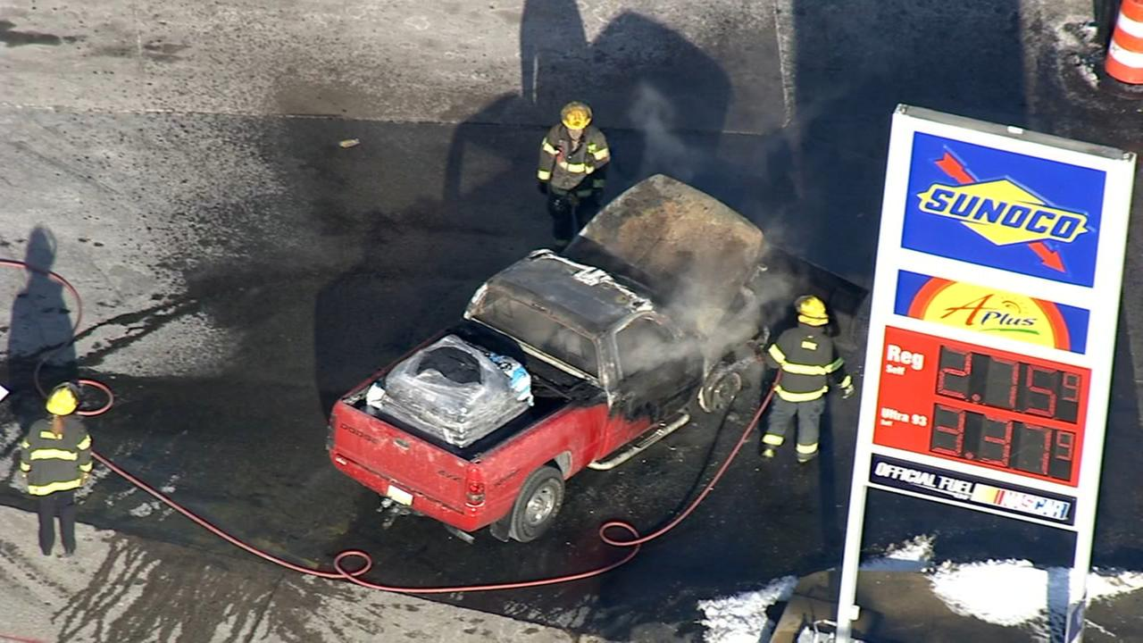 Pickup truck catches fire at NE Philly gas station