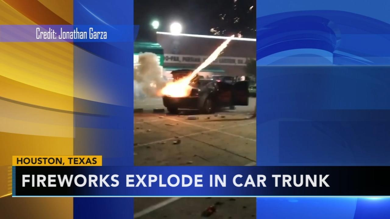 Fireworks explode in car trunk
