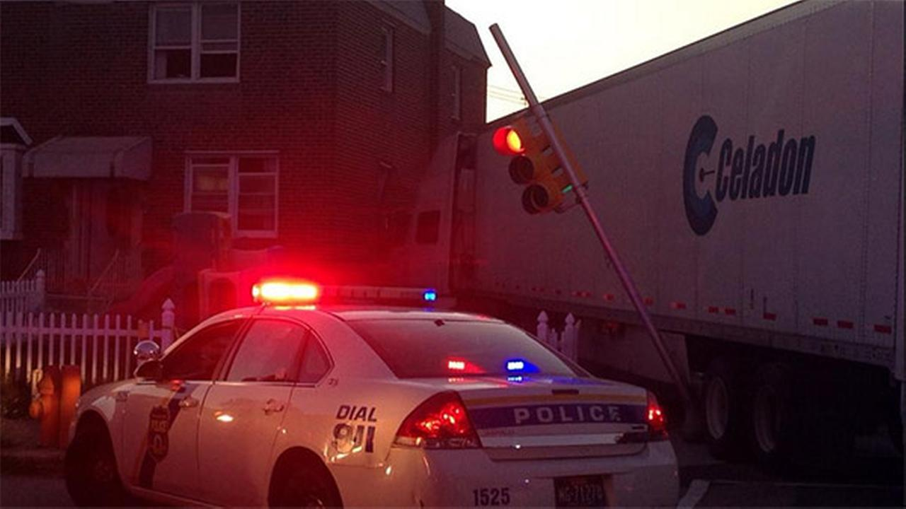A tractor-trailer crashed into a home in Philadelphias Mayfair neighborhood on Thursday, August 28, 2014.