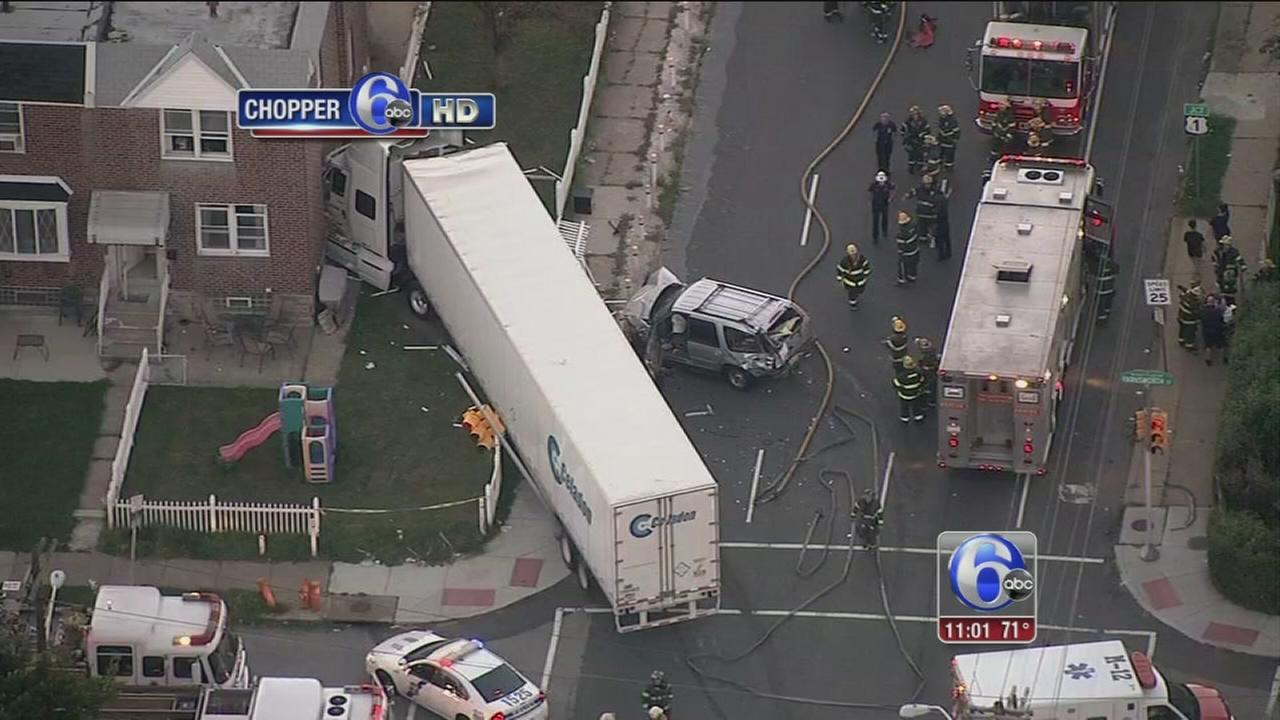 VIDEO: Tractor-trailer crashes into Mayfair house