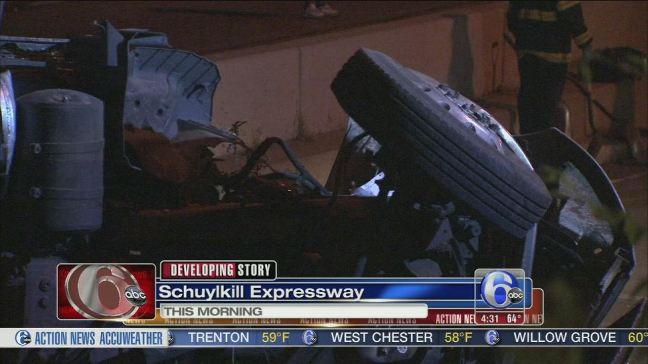 VIDEO: Tractor trailer overturns near I-76 WB and Roosevelt Blvd.