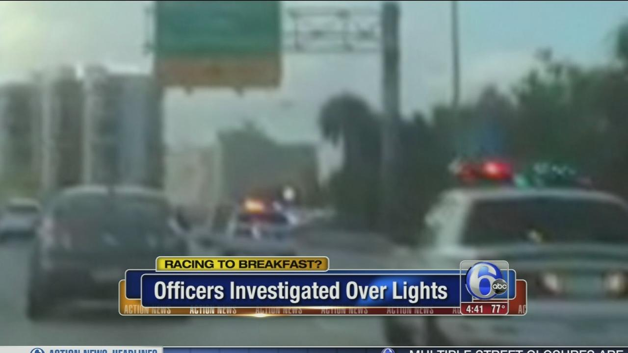 VIDEO: Did cops blast lights on way to breakfast?