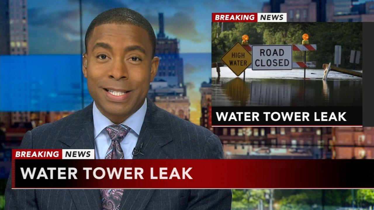 Water tower leak causes road closures in Bucks County