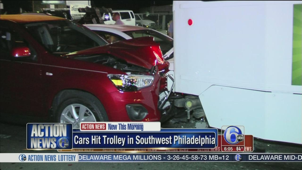 VIDEO: 2 cars slam into SEPTA trolley in Southwest Philadelphia