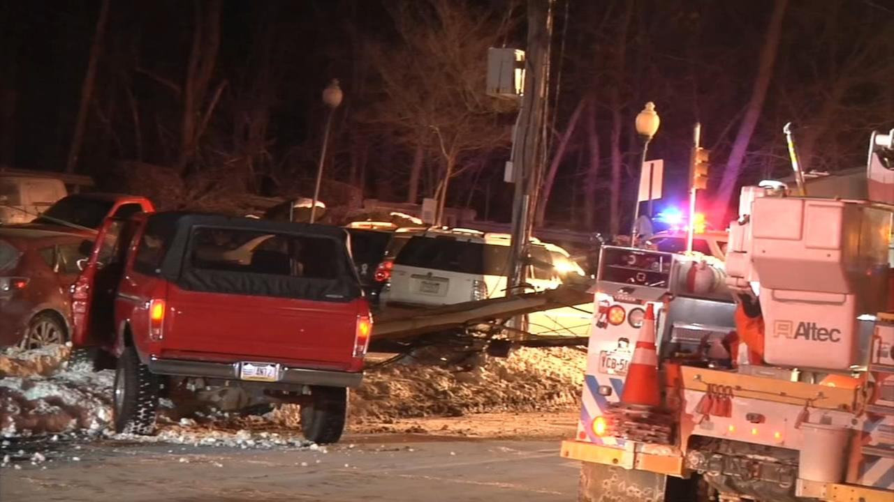SUV crashes into utility pole in Aston
