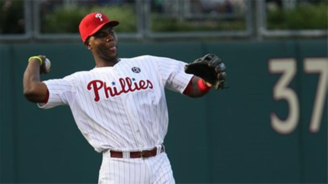 Philadelphia Phillies John Mayberry Jr. in action during a baseball game against the Atlanta Braves, Friday, June 27, 2014, in Philadelphia.