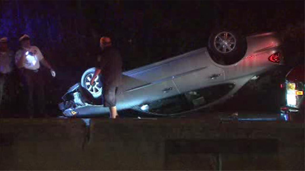 Driver flips over on Lincoln Drive in East Falls