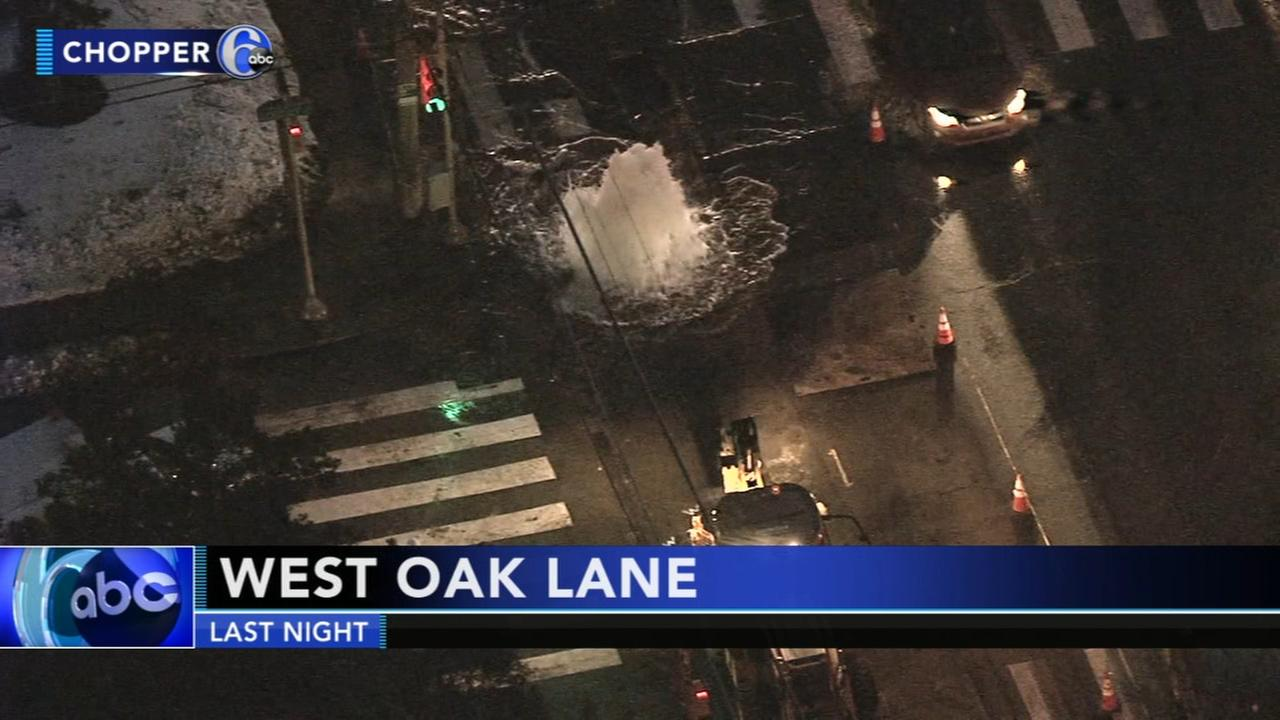 Construction error causes fountain of water in West Oak Lane