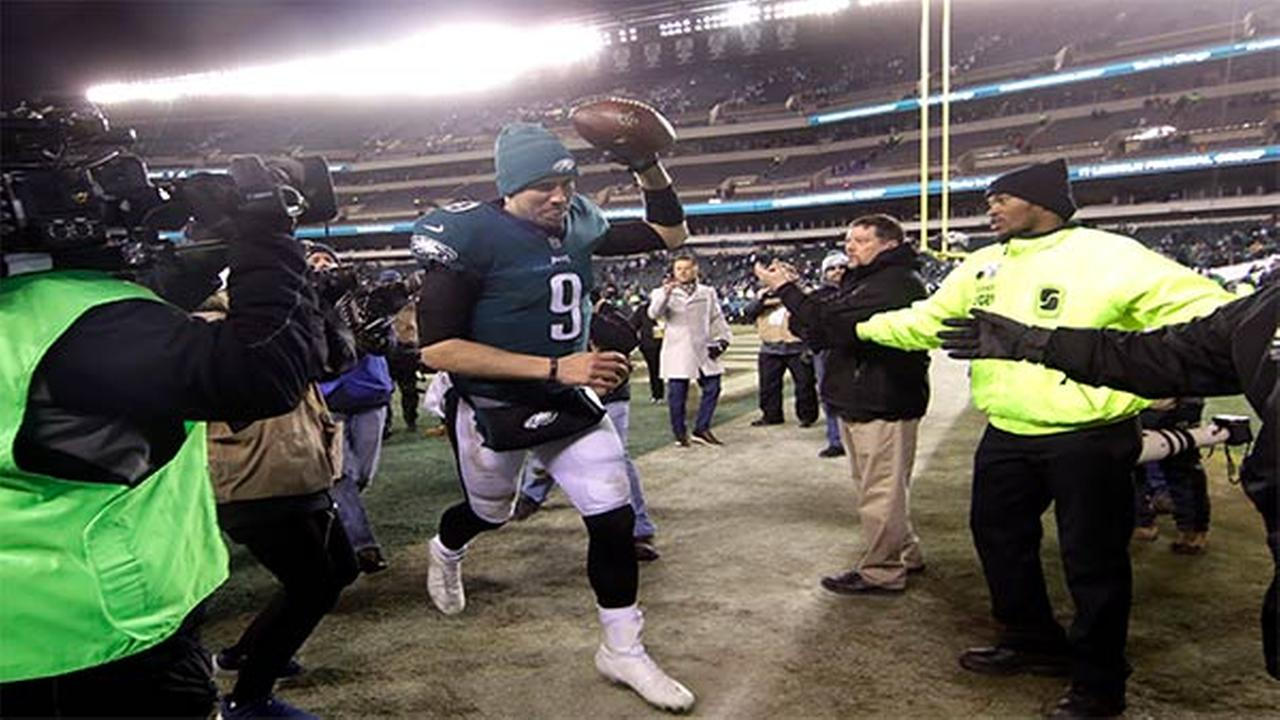 Philadelphia Eagles Nick Foles celebrates after an NFL divisional playoff football game against the Atlanta Falcons, January 13 in Philadelphia.