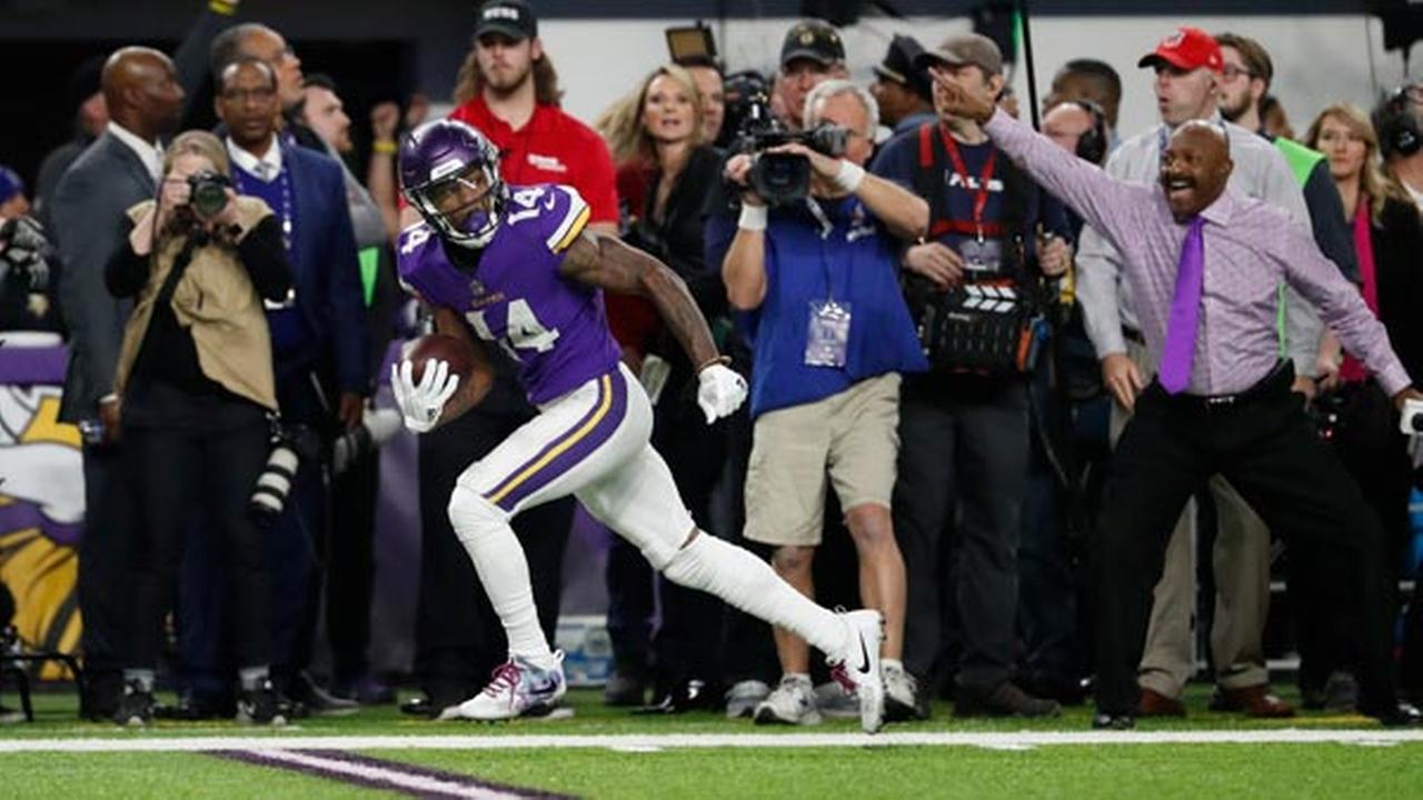 Minnesota Vikings wide receiver Stefon Diggs (14) runs to the end zone for a game winning touchdown against the New Orleans Saints.