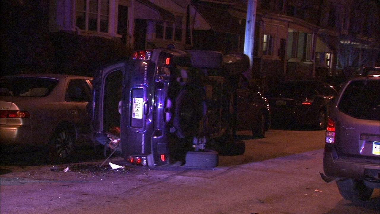 Car flips on side in West Philly crash
