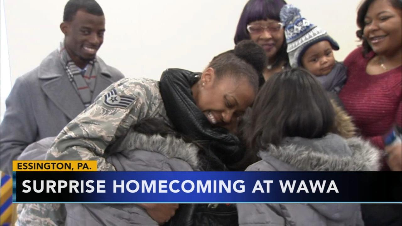 VIDEO: Returning troops surprise families at Delco Wawa