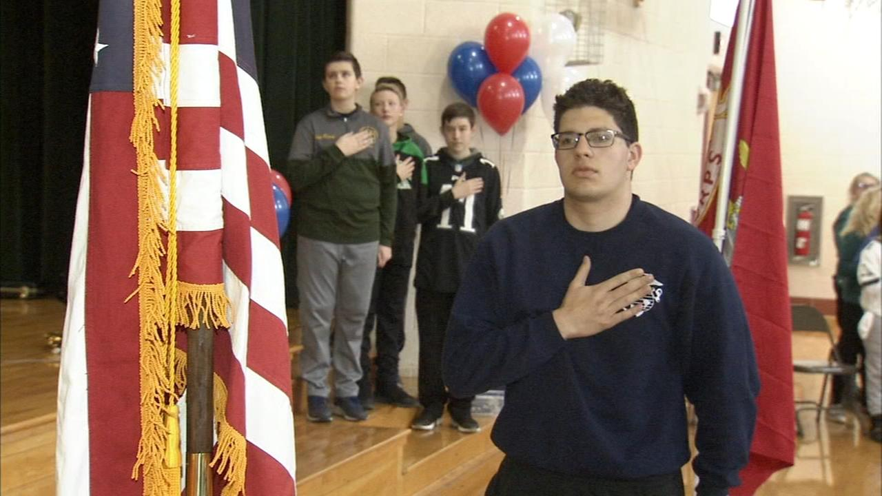 Students honor a marine recruit