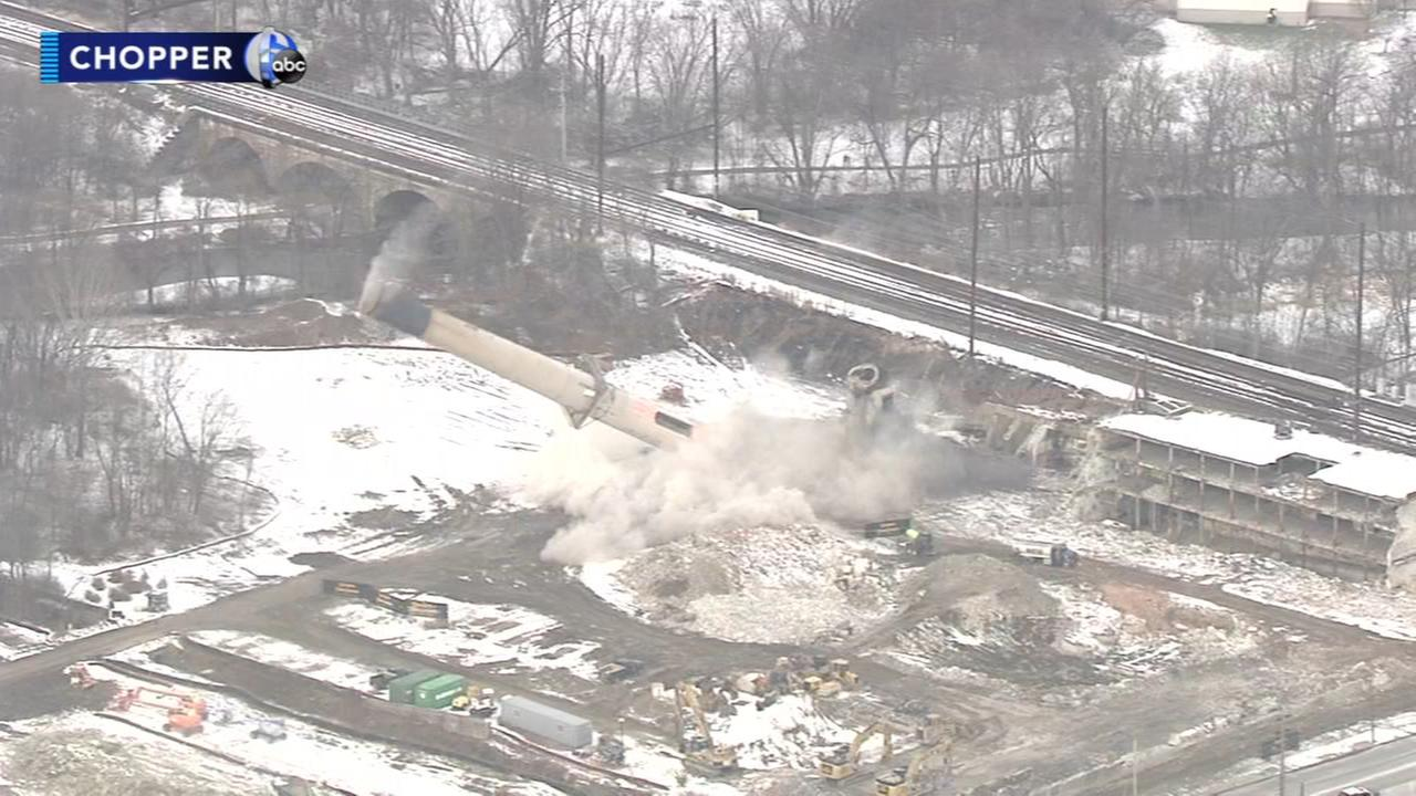 Paper mill stacks imploded in Chester County