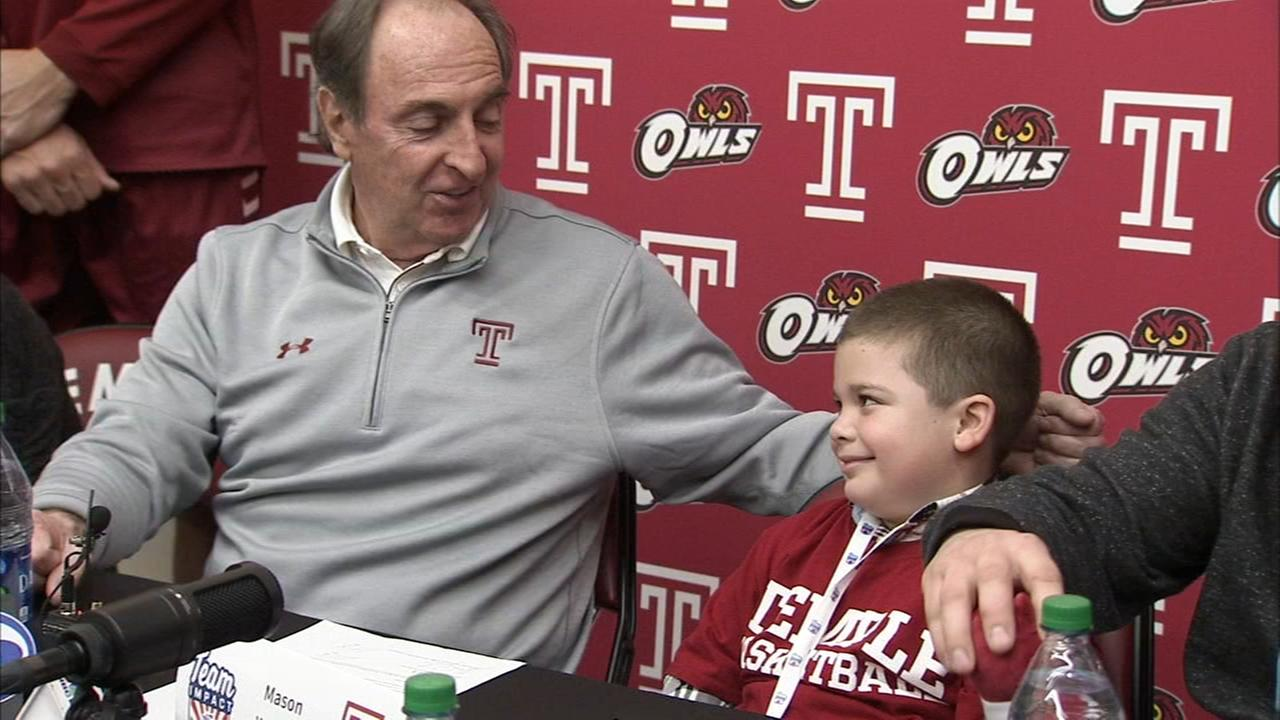 Six-year-old signs with Temple mens basketball team