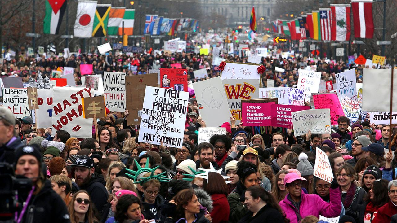 Thousands of activists are gathering in Philadelphia for the second anniversary of marches in support of womens rights.