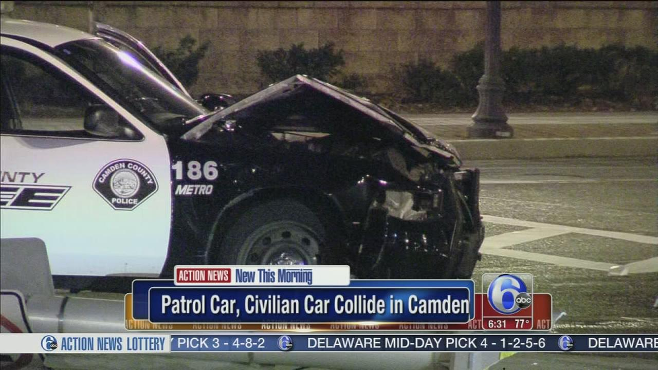 VIDEO: Officers police car collides with vehicle in Camden