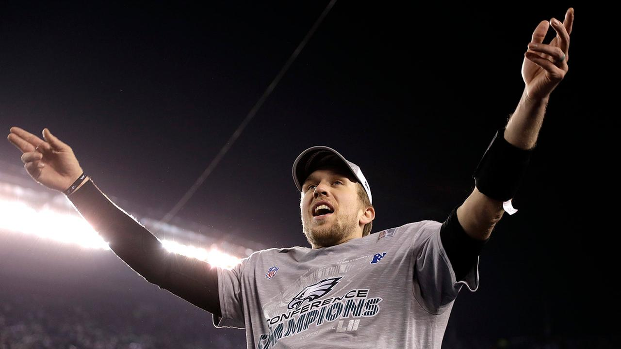 Philadelphia Eagles Nick Foles celebrates after the NFL football NFC championship game against the Minnesota Vikings Sunday, Jan. 21, 2018.