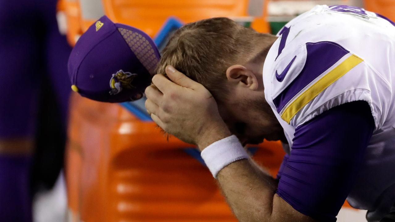 Minnesota Vikings Case Keenum reacts on the bench during the second half of the NFL football NFC championship game against the Philadelphia Eagles Sunday, Jan. 21, 2018.