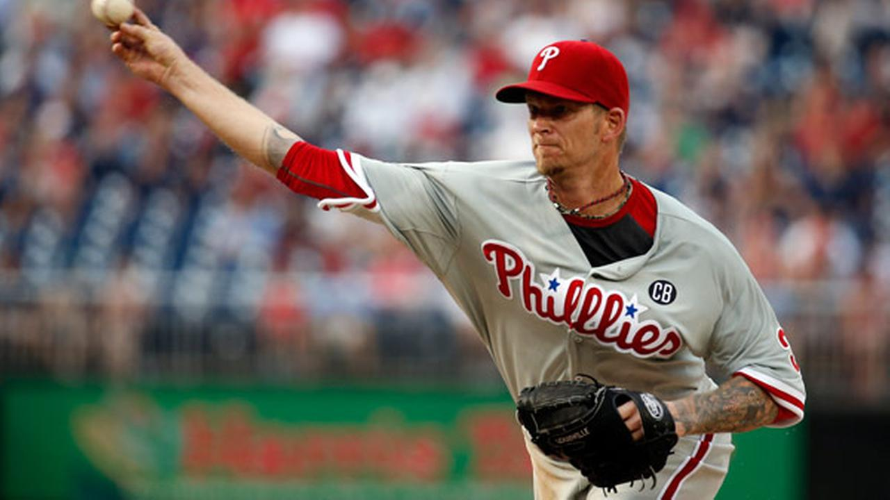 Philadelphia Phillies starting pitcher A.J. Burnett throws during a baseball game against the Washington Nationals at Nationals Park, Saturday, Sept. 6, 2014, in Washington.