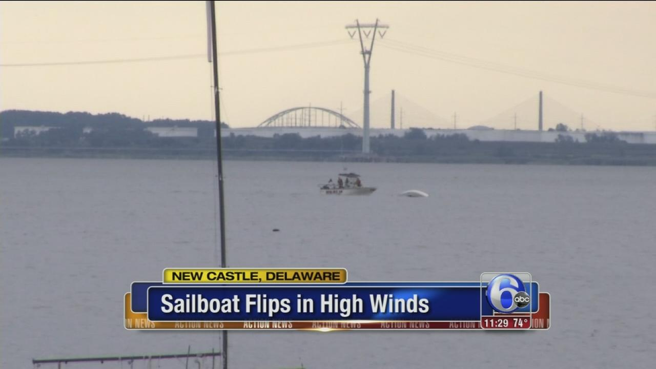 VIDEO: Sailboat flips in high winds