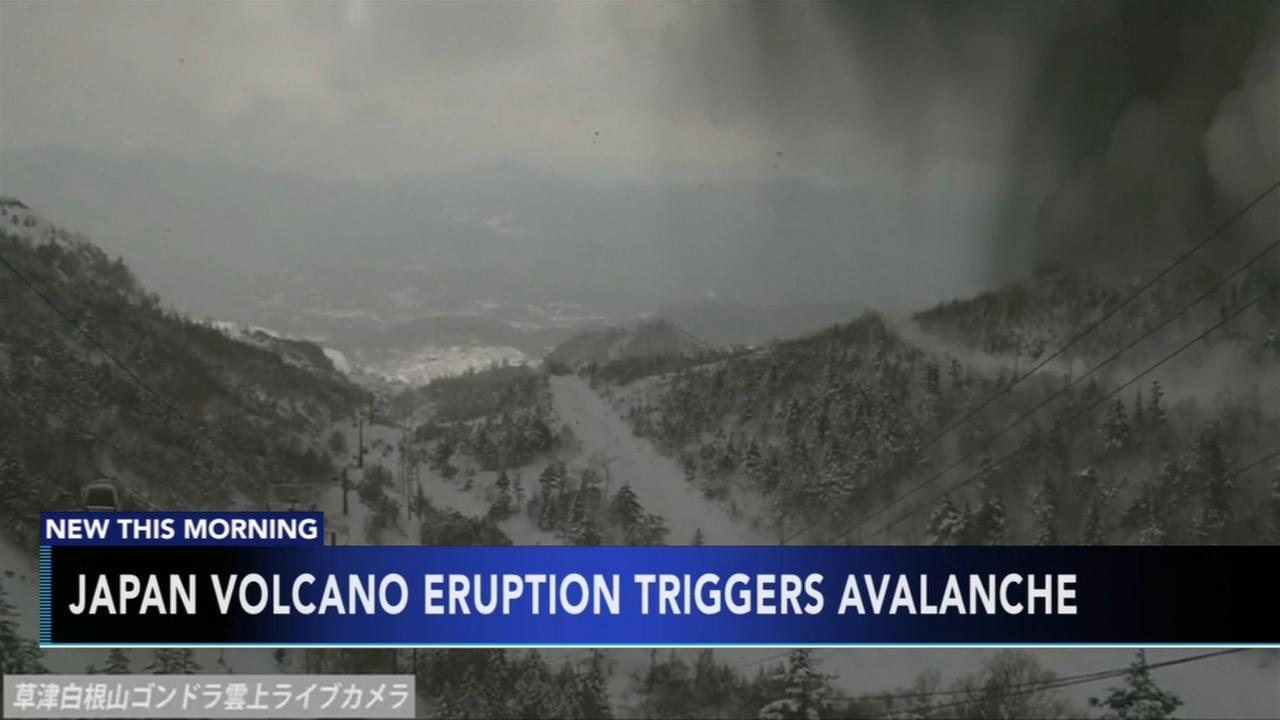 Japan volcano eruption triggers avalanche