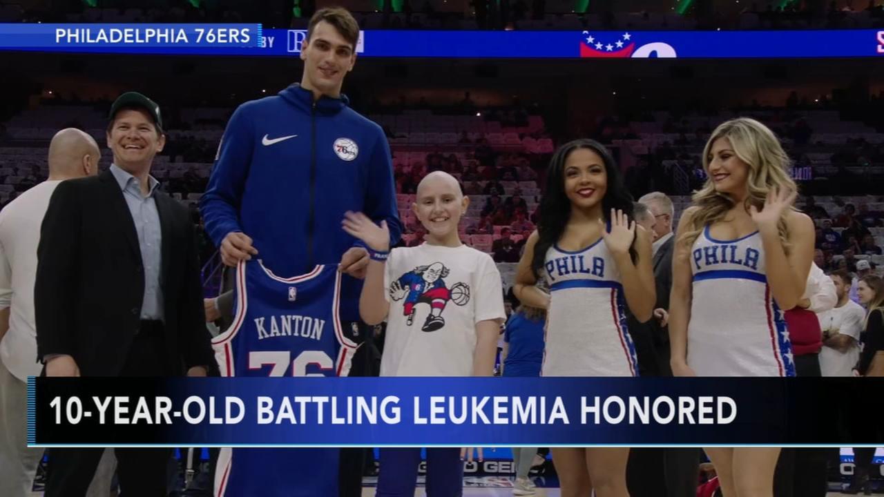 76ers honor young fan battling leukemia